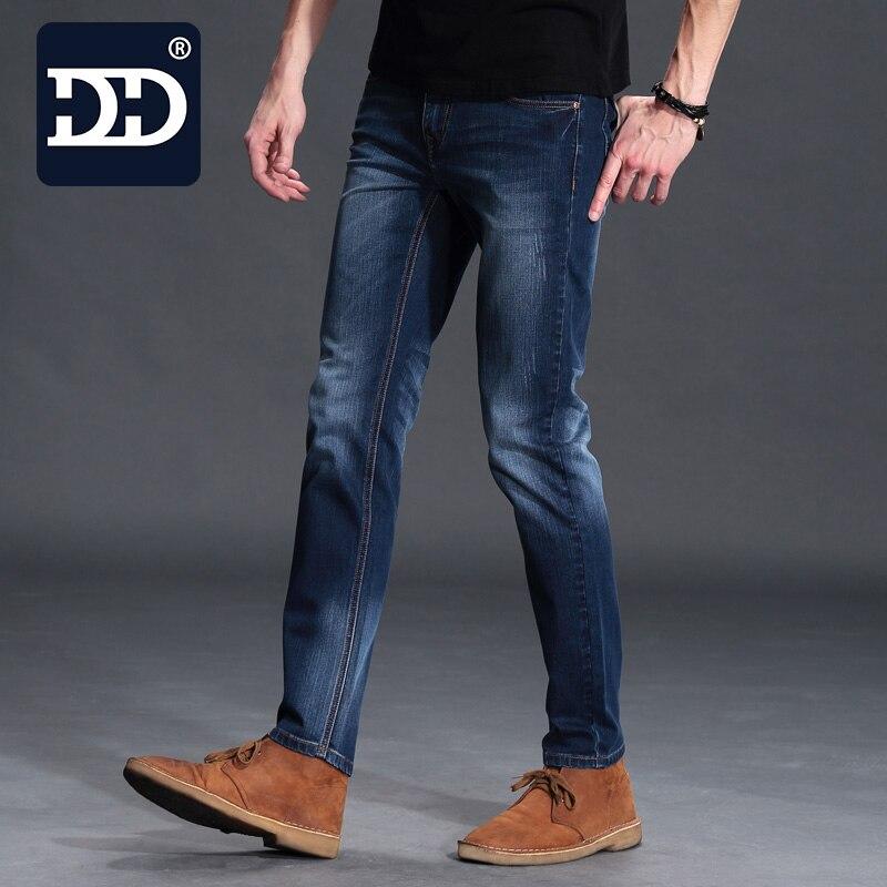 Dingdi Exclusive Men Deep Blue Jeans Homme Slim Elastic Factory Jeans Men Straight Jeans Men Quality Mens Designer Jeans Pants