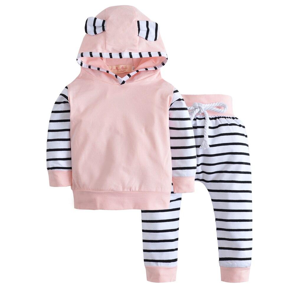 Baby Clothes Set Cotton Newborn Girl Boy Long Sleeve Hooded T-shirt Pants 2 Pcs