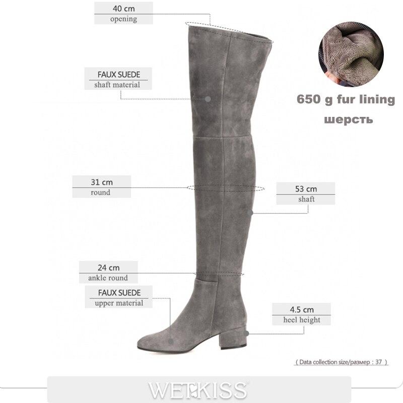 Wetkiss 새로운 도착 슈퍼 스타 무릎 부츠 여성 패션 겨울 부츠 여성 신발 가을 지퍼 두꺼운 뒤꿈치 허벅지 높은 부팅 여성-에서무릎위 부츠부터 신발 의  그룹 2