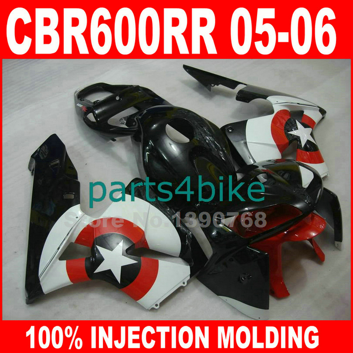 Lowest price Injection molded for HONDA CBR600RR fairings 2005 2006 red black fairing kit CBR 600 RR 05 06 CBR 600RR DE2