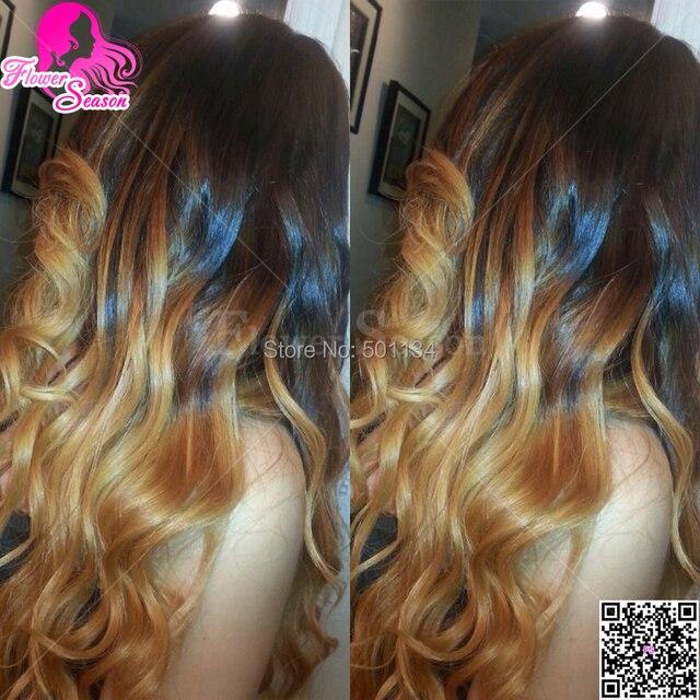 Cheap Blonde Virgin Brazilian Ombre U Part Wig Two Tone Color Ombre 1b 27 Long Wavy Ombre U Part Human Hair Wigs For Black Women