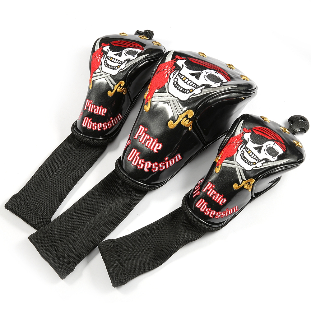 bed59ef94c2 Siranlive Pirate  1  3  5 H Golf Wood Headcovers 4PC Set 460CC Driver Fairway  Wood Hybrid PU Leather Head Covers Set-in Club Heads from Sports ...