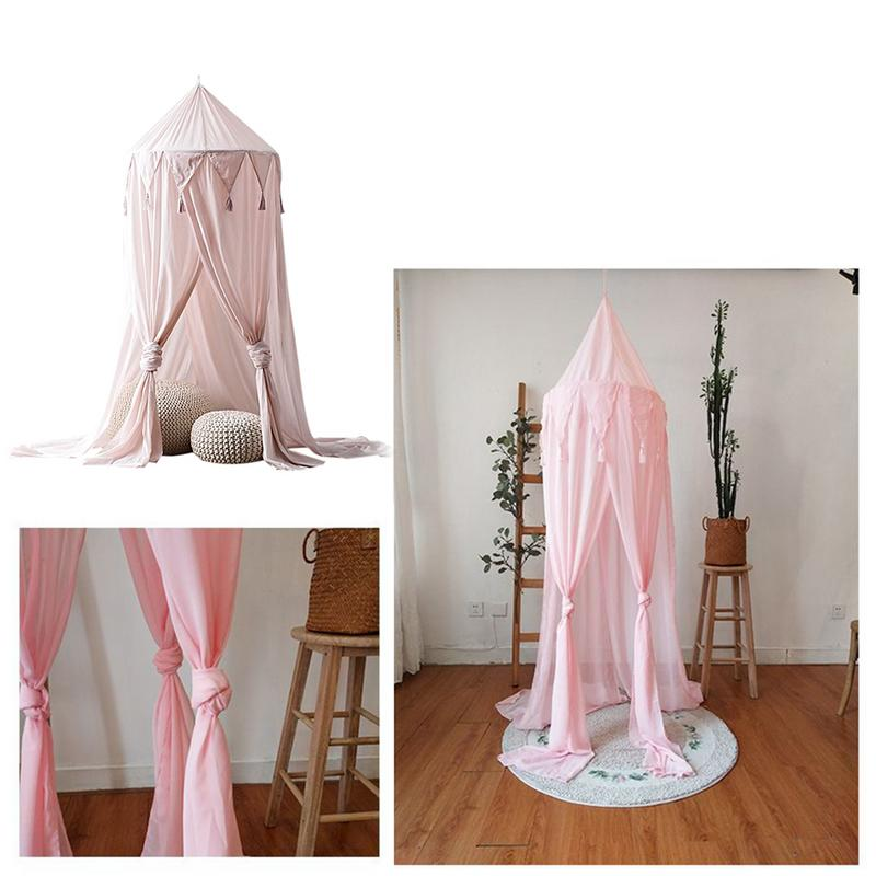 New Style Children's Triangle Tassel Chiffon Tent Pink Baby Photography Prop Newborn Ger Type Crib Mosquito Net Dream Tent