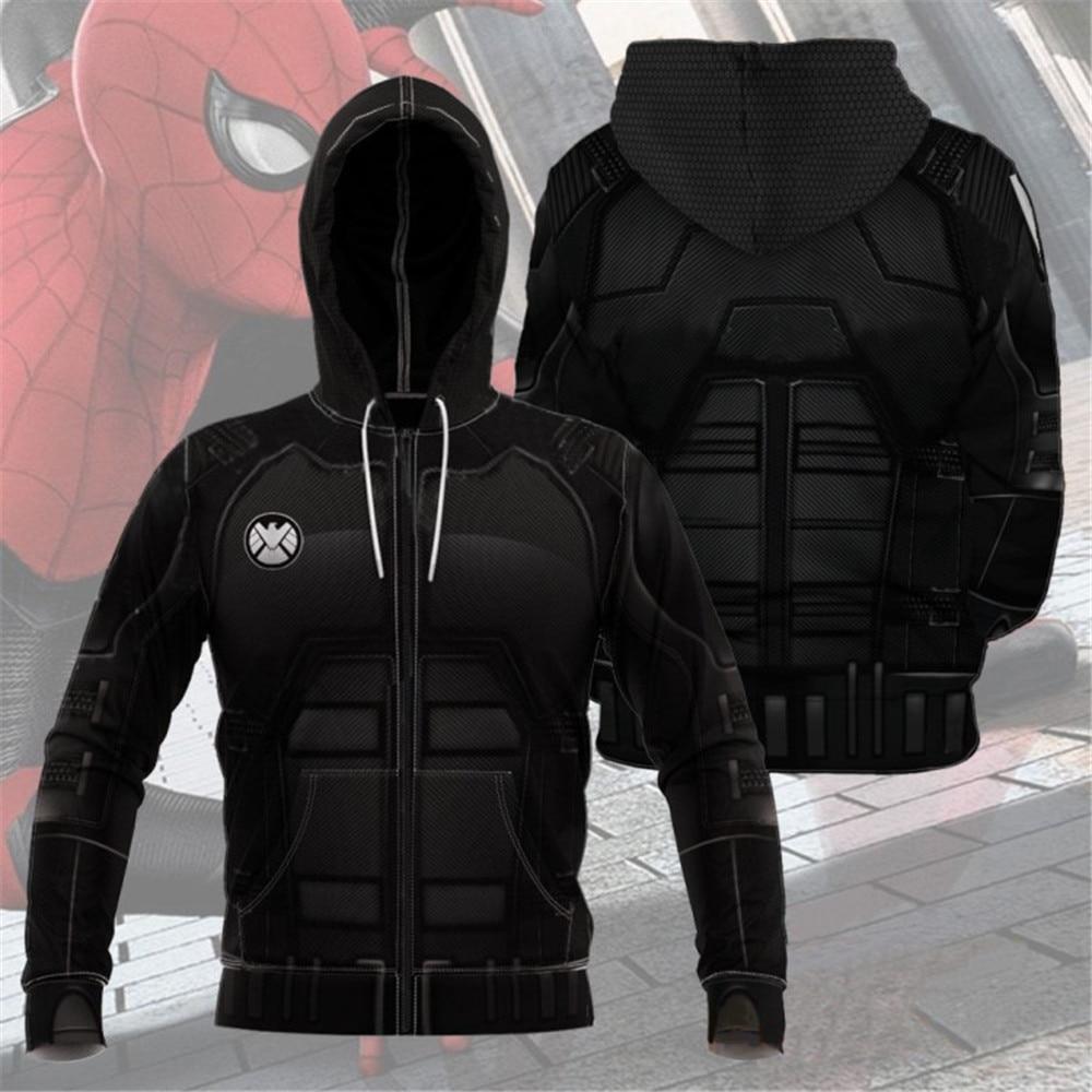 Spiderman Cosplay T-Shirt Jacket Hoodie Home-Stealth-Suit Long-Sleeve Zip-Up Woman Zipper
