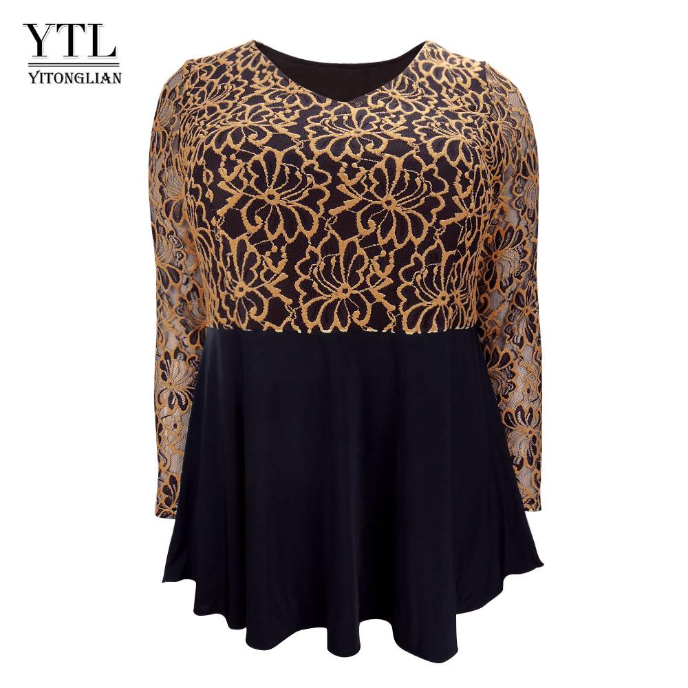 YTL Plus Size Womens Tops and   Blouses   5XL 6XL 7XL Elegant Floral Lace See-through Long Sleeve Flare Tunic   Blouse     Shirt   Women 118