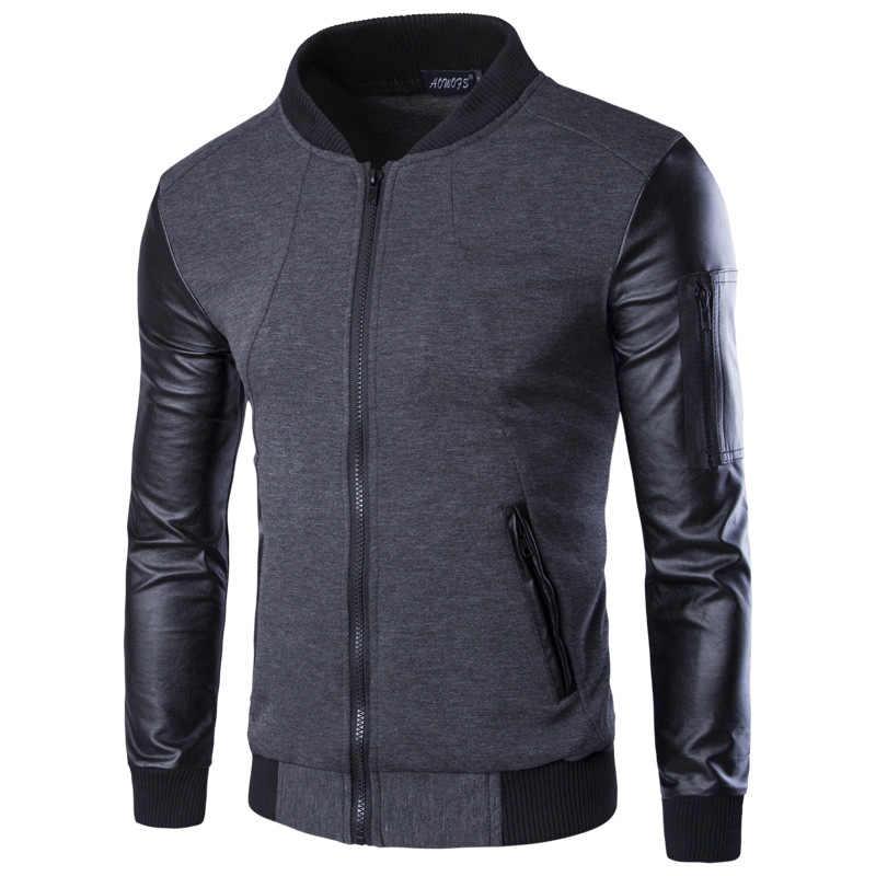 2ca9f92f Мужские толстовки в стиле пэчворк с кожаным рукавом модные толстовки с  капюшоном брендовая Толстовка Мужская куртка