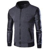 2015 Men Hoodies Patchwork Leather Fashion Hoodie Jacket Coat Brand Sweatshirt Sports Suit Pullover Men S
