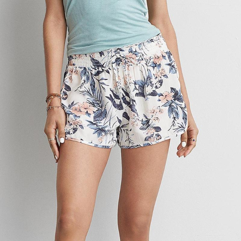 Summer Women Fashion Floral Print Casual Elastic High Waist Shorts Flower Ruffle Loose Sexy Clothing Quick Dry