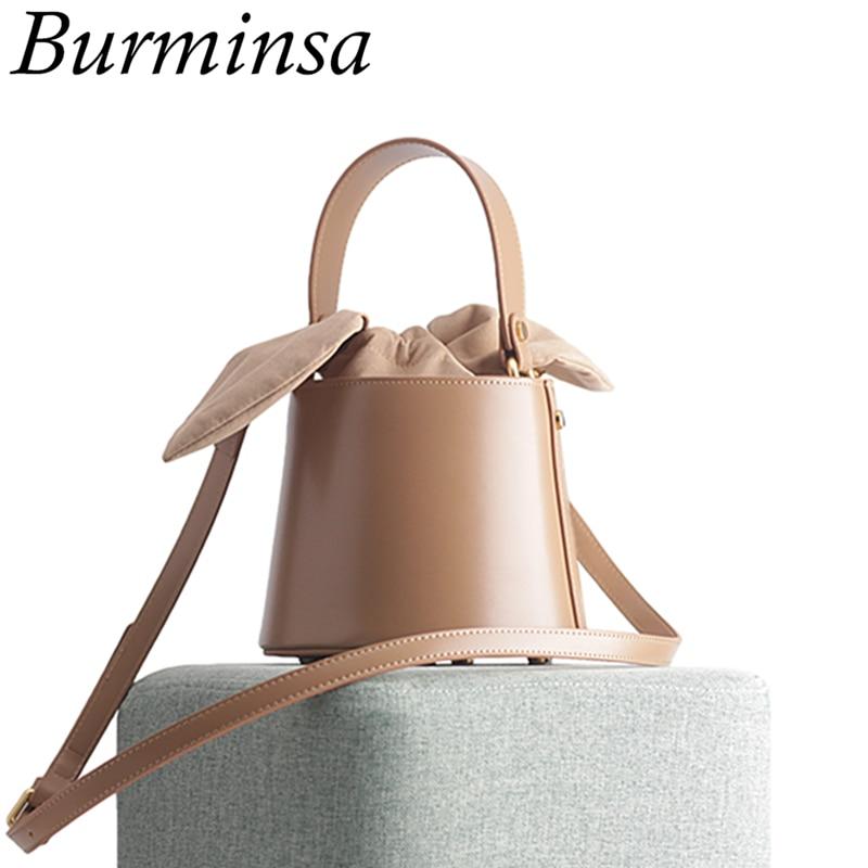 Burminsa Elegant Cylinder Small Women Genuine Leather Bags Bucket Designer Handbags High Quality Ladies Shoulder Messenger