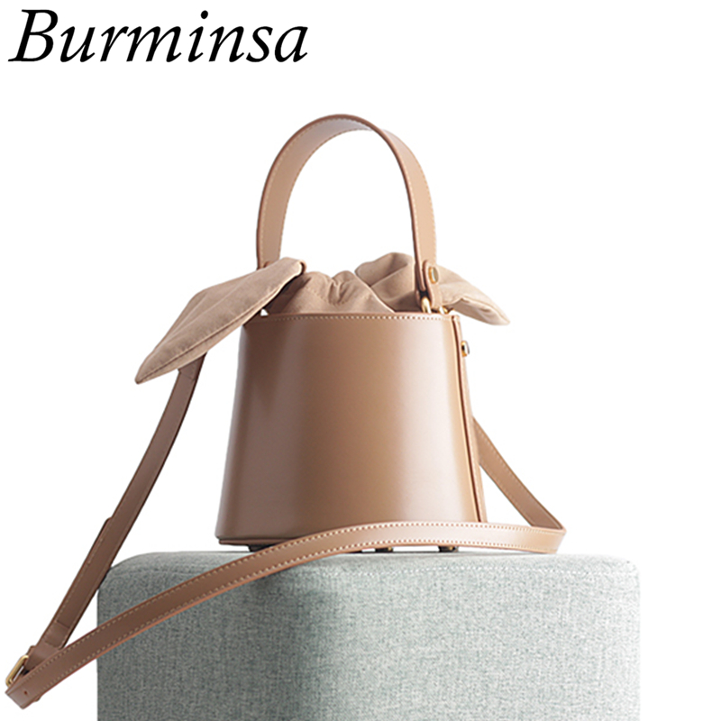 Burminsa Cylinder Small Genuine Leather Bags For Women Bucket Designer Handbags High Quality Female Shoulder Bags 2020 BOX PACK