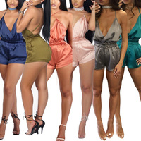 2017 Women Sexy Club Jumpsuits Sleeveless Rompers V Neck Playsuit Short Jumpsuit Bodycon Elegant MC5209