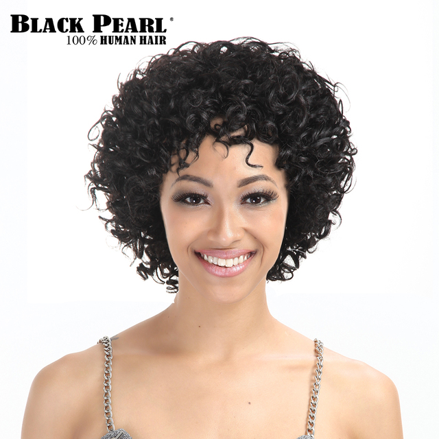 Black Pearl Short Curly Human Hair Wigs For Black Women African