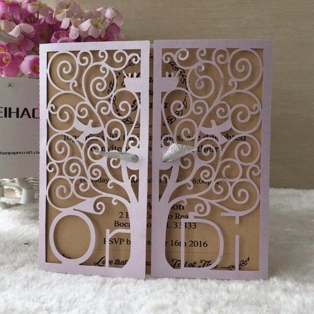 50pcs Lot 2018 Luxurious Whole Purple Colored Wedding Invitations Decorations Custom Initinals Evening