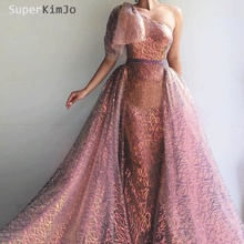 SuperKimJo One Shoulder Prom Dresses 2019 Colorful Detachable Skirt Rose Elegant Arabic Gown Vestido De Gala