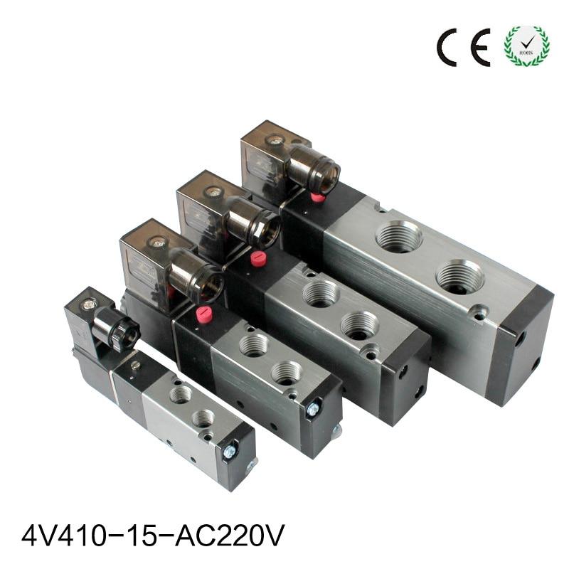 1Pcs AC220V 4V410-15  5Ports 2Position Single Solenoid Pneumatic Air Valve 1/2 BSPT 1pcs 4v430c 15 ac110v 5ports 3position dual solenoid pneumatic air valve 1 2 bspt brand new