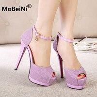 2017 New Fashion Sexy Women Silver Elegant Rhinestone Wedding Shoes Platform Pumps Platform High Heels Crystal
