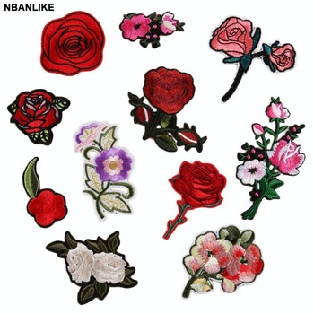 1PC Rose Flower Leaves Embroidery Iron On Applique Patch Sew On Patch Craft Sewing Repair Embroidered Hat Bag Jeans Patches embroidery