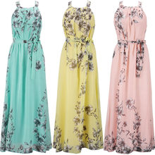 2018 Summer Women Dress Chiffon Floral Print Halter Pleated Tunic Sleeveless Long Maxi Party Boho Dresses With Belt Vestidos(China)