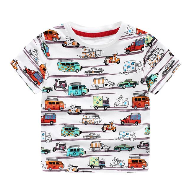 Niños top boys T shirt patrón niños verano 2017 niño Hijo de impresión de manga corta del coche marca de ropa ropa de verano para niños
