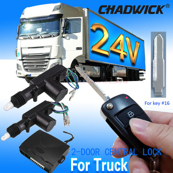 24V universal for truck Remote control 16# FLIP KEY Vehicle Keyless Entry System 2 door Central Door Lock locking 8118 CHADWICK chadwick one way car alarm security system for lada toyota suzuki universal remote control door lock keyless entry system 8171
