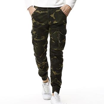 2020 moda wiosna męskie taktyczne joggersy cargo mężczyźni kamuflaż spodnie kamuflażowe armia wojskowy Casual spodnie bawełniane Hip Hop męskie spodnie tanie i dobre opinie HANQIU Cargo pants men pants W stylu Safari Mieszkanie COTTON Midweight Kieszenie Suknem REGULAR Pełnej długości Przycisk fly