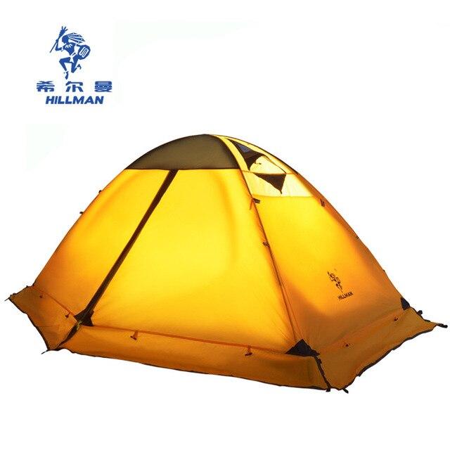 Hillman quatre saisons Double couche poteaux en aluminium ultraléger 2 personnes utiliser respirant Camping tente Barraca avec jupe de neige