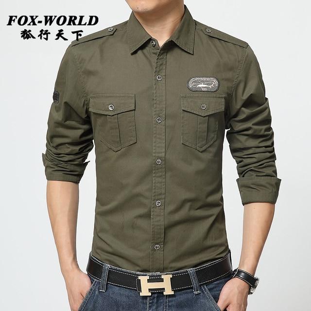 504a6507332 2016 Spring military quality men's casual brand army green shirts man  autumn 100% cotton khaki black long shirt M - 5XL