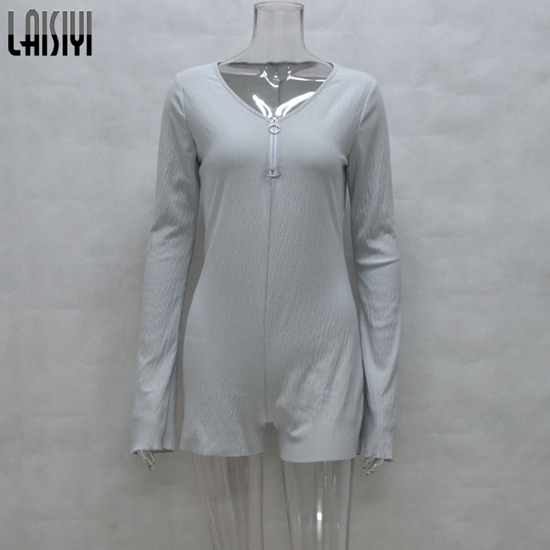29d8c48d734a Aliexpress.com   Buy LAISIYI Autumn Long Sleeve Fitness Jumpsuit Short  Zipper V neck Womens Bodysuit Casual One Piece Playsuit Romper Gray  ASJU20148 from ...