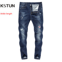 KSTUN Stretch Jeans Men Skinny Ripped Cropped Pants Slim Dark Blue Distressed Frayed Streetwear Patched Hip Hop Jeans for Man(China)