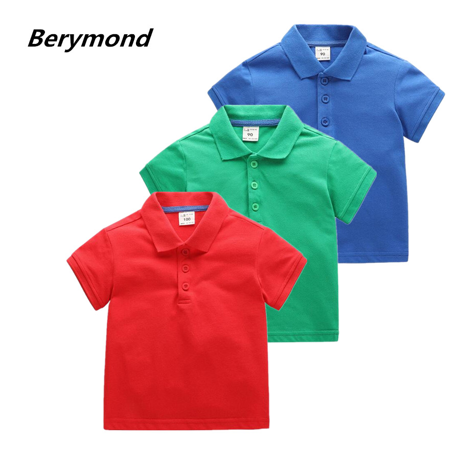 Kids Boy Polo Shirts 2018 Summer New Trendy Solid Candy Color Short