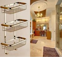 Wall Mounted Copper Bathroom Shelf Triple Tier Gold Bath Shower Shelf Top Quality Bath Shampoo Holder