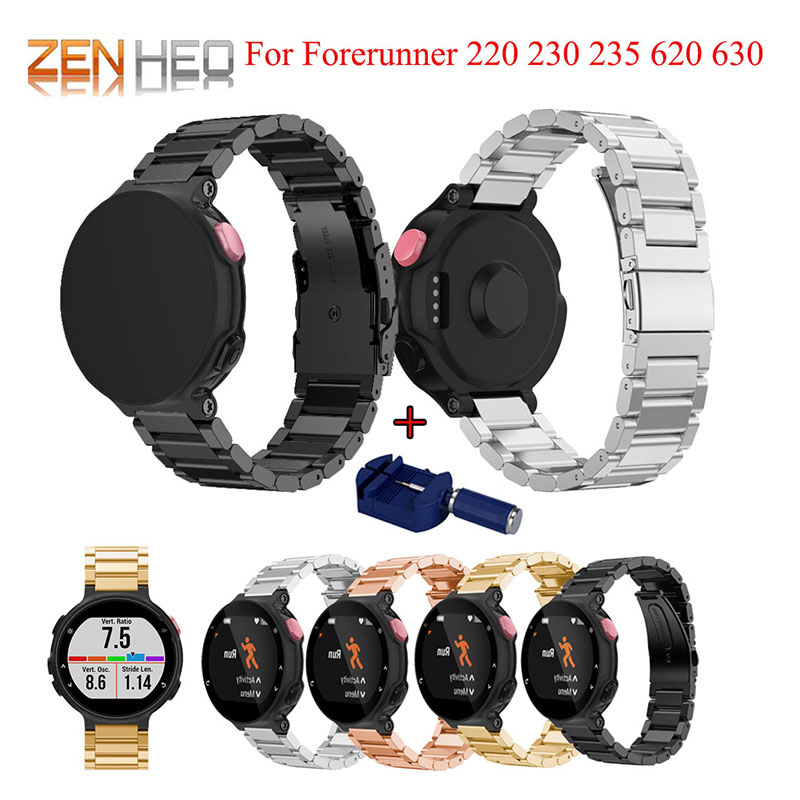 Faixa de Relógio de Aço inoxidável Para Garmin Forerunner 220 230 235 630 620 735XT Clássico Pulseira de Relógio Inteligente Pulseira com Ajuste ferramenta