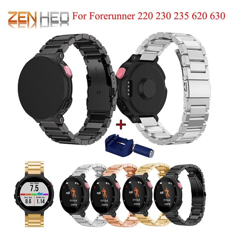 Pulseira de relógio aço inoxidável para garmin forerunner 220 230 235 630 620 pulseira 735xt clássico relógio inteligente com ajustar a ferramenta
