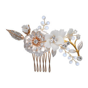Image 5 - Porcelain Flower Bridal Hair Combs Pins Set Fashion Wedding Headpiece Party Prom Side Tiara Handmade Brides Hair Accessories