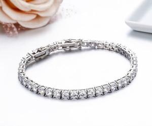 Image 5 - 925 Sterling Silver Cụm Vòng AAA CZ Zironia Tennis Vòng Tay Pulseras Pulseira Bracelete Phụ Nữ Jewelry Cô Gái Món Quà Của Bạn