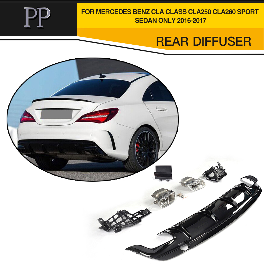 PP Car Styling Rear Diffuser With Exhaust Muffler Tips For Mercedes Benz CLA Class CLA250 CLA260 Sport Sedan Only 2016 2017