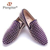 Piergitar/2017 ручной работы фиолетового бархата с заклепками золотого цвета модные мужские лоферы для вечеринок и выпускного вечера somking Тапочки