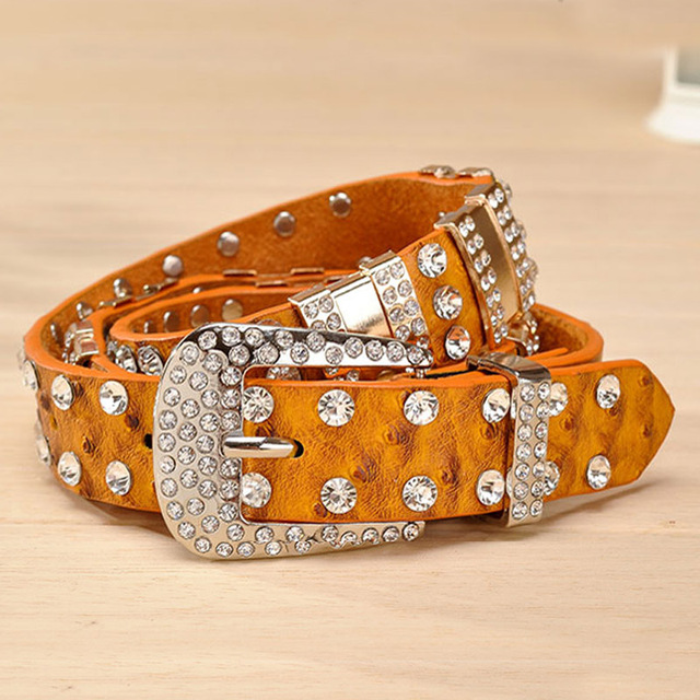 New Fashion Rhinestone belts for women Luxury Designer Genuine leather belt High quality Cow second layer skin strap female
