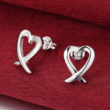 925 Silver Color Women Jewelry Fashion Cute Tiny Hollow Heart Stud Earrings For Daughter Girls abstract heart stud earrings stainless steel minimalist hollow heart stud earrings for women girls jewelry accessories gifts