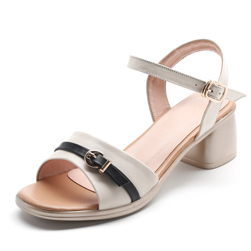 2019 New Spell Colors Cowhide Summer Leather Sandals Comfortable Thick Heel Shoes Woman Fashion Sandals Wild