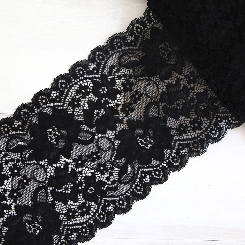 Ruffled Lace Black Trim 1 Yard Sewing Lace by the Yard Clothing Trim Lace