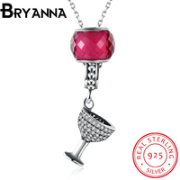 BRYANNA Anime Sterling silver jewelry Rose Red CZ Wine flower Necklace Pendants Chain long necklace jewelry women PDRSVM7007-24