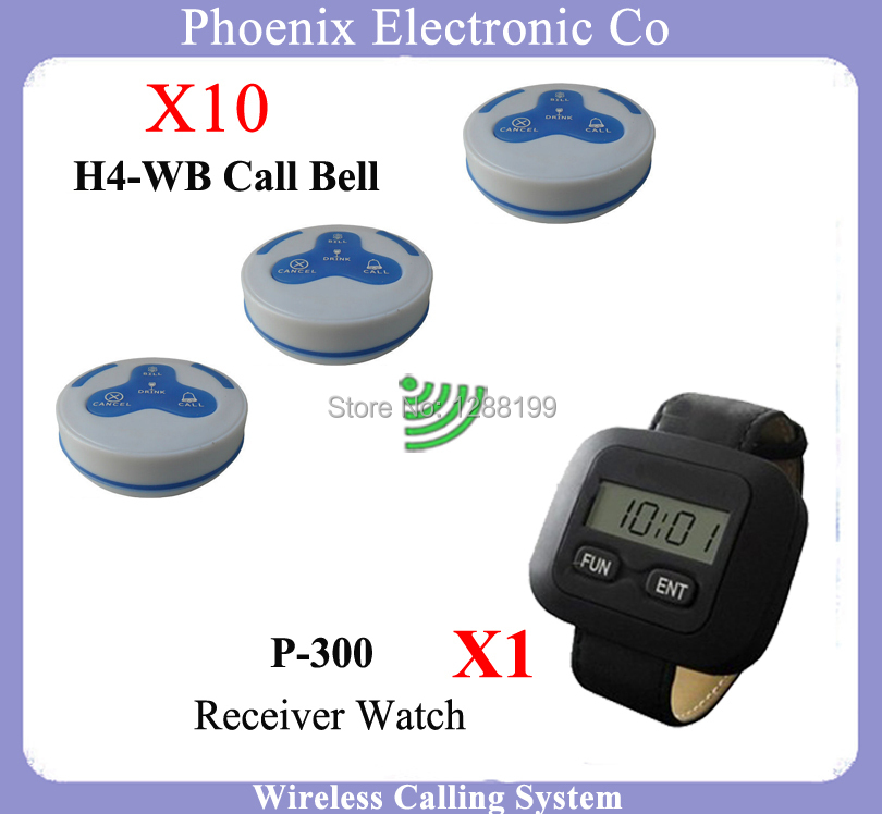 Wireless Pager Calling System With Receiver Watch 1pcs P-300 And 10pcs P-H4 Wb Call Bell Used For Coffee Shop,DHL Free Shipping restaurant pager watch wireless call buzzer system work with 3 pcs wrist watch and 25pcs waitress bell button p h4