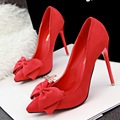 2017 Fashion Big Bowknot High Heels Korean Pointed Shallow Mouth Fine with High Heels Shoes Suede Bow Woman Pumps Wedding Shoes
