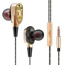 Unidade dupla com fio 3.5mm audifonos para celular in-ear fones de ouvido estéreo em fone de ouvido hi fi fones de ouvido fio baixo telefone para iphone