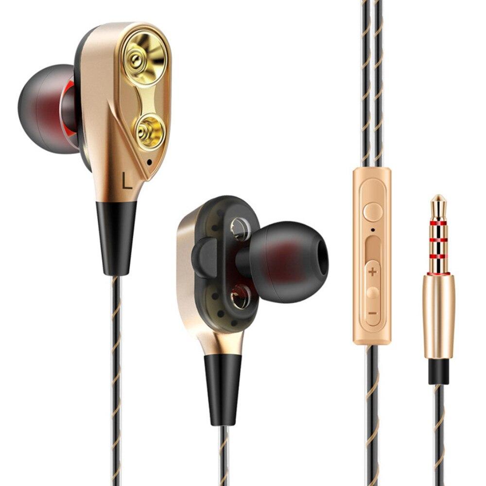 Podwójny napęd przewodowy 3.5MM audifonos para celular słuchawki douszne Stereo w ucho zestaw słuchawkowy hi fi słuchawki drut basowy telefon dla iphone