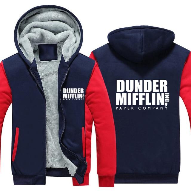 Dunder Mifflin Thicken Hoodie Paper Company Dunder Mifflin Winter Warm Fleece Hoodie Thicken Coat