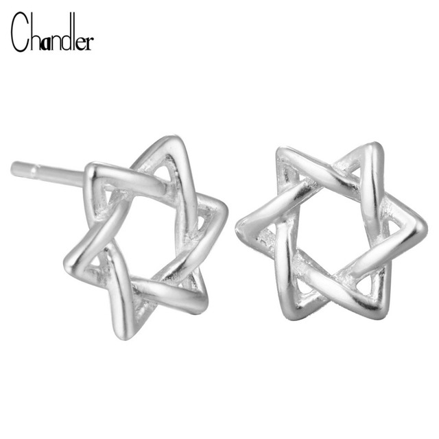 925 Sterling Silver David Star Stud Earrings Knot Stars Tiny pendientes For Women Girl Homme Bijoux Simple Piercing Body Jewelry