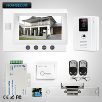 HOMSECUR 7 Wired Hands free Video Door Phone Intercom System+One Button Unlock: TC011 W Camera (White)+TM701 W Monitor (White)