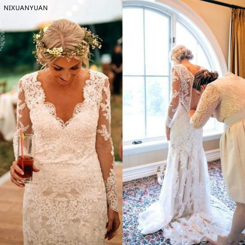 Lace Wedding Dresses 2019 Long Sleeves Garden Bridal Gowns V-Neck Sheath Sexy Vestidos De Novia Gelinlik Marriage Reception New